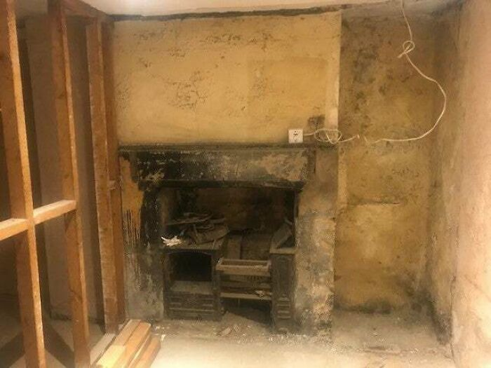A Wall Was Removed In A Victorian House We Are Working At Which Revealed An Old Cast Iron Fireplace