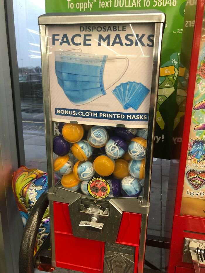A Mask Gumball Machine At The Dollar Store