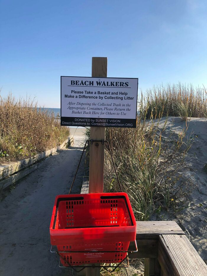 Beach Has Baskets For People To Help Clean Up