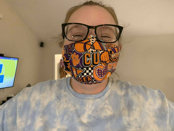 So My Sister Had A Clemson Mask Made For Her