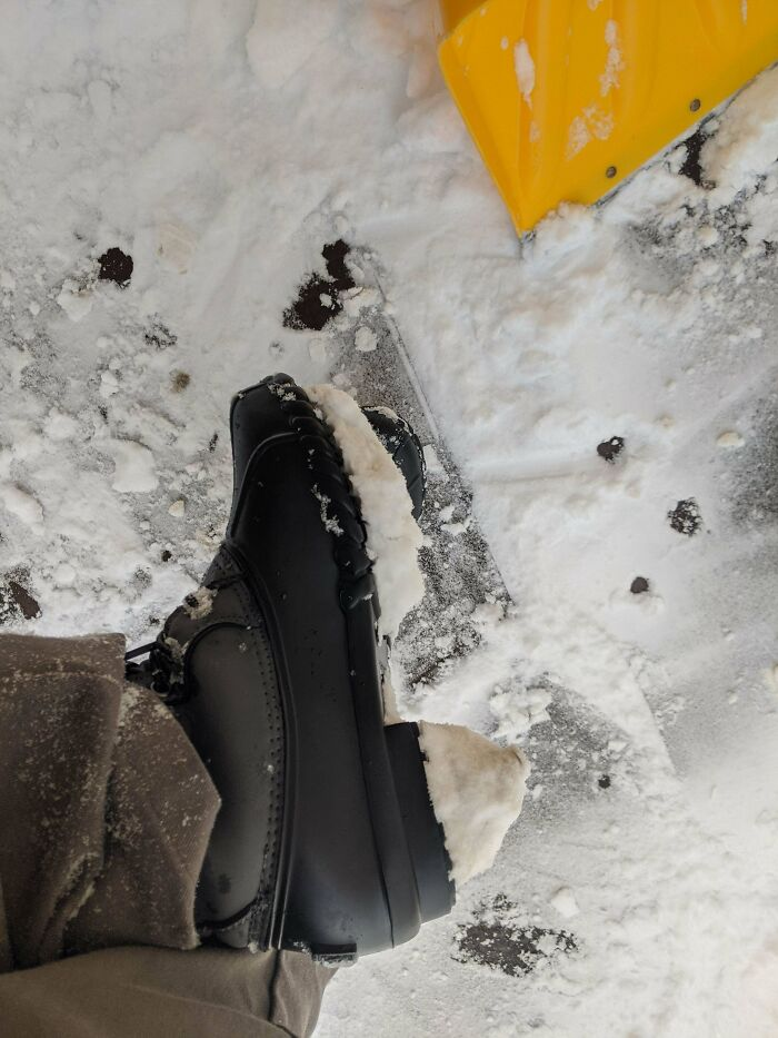 These Snow Boots That Have Bottoms That Don't Release Snow. They Turn Into Ice High Heels After 2 Steps