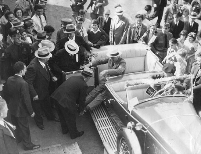 FDR Using Help To Get Out Of His Car, One Of The Few Photos That Show His Paralytic Illness, Journalists And Photographers Avoided Showing The President In This Weak State Especially During WWII, Taken In The 24th Of September 1932