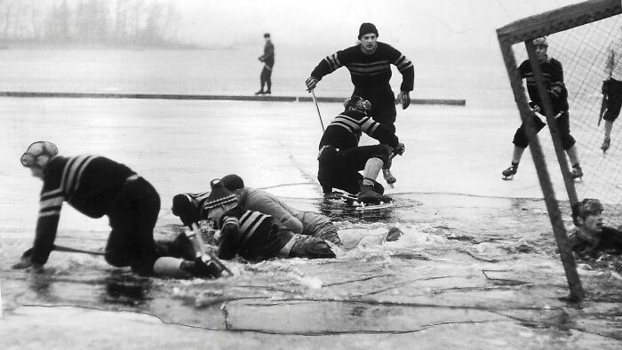 An Outdoor Hockey Game In Sweden Is Cut Short, 1959
