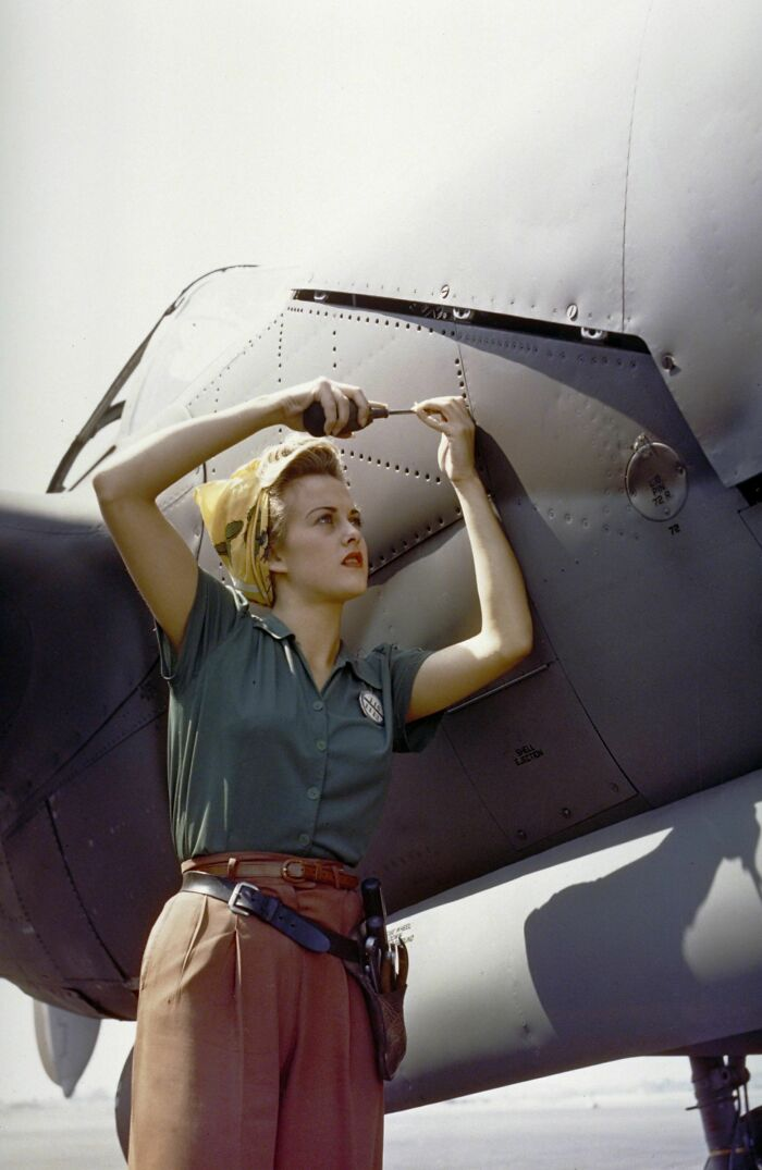 Lockheed Martin Employee Sally Wadsworth Working On The Fuselage Of A P-38 Lightning In California In 1944