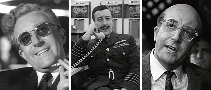 Peter Sellers As Dr. Strangelove, Group Captain Lionel Mandrake, And President Merkin Muffley In Dr. Strangelove Or: How I Learned To Stop Worrying And Love The Bomb (1964)