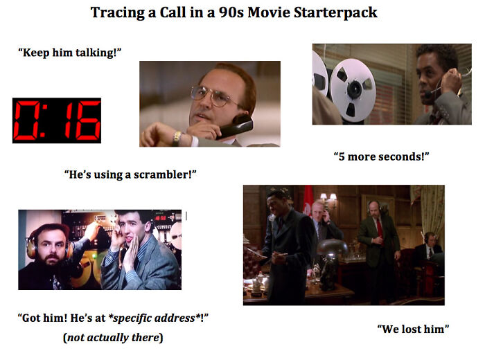 Tracing A Call In A 90s Movie Starterpack
