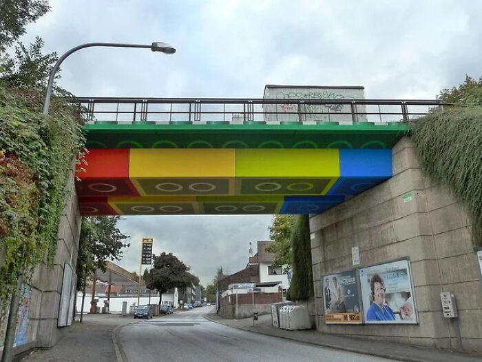 This Bridge In Germany Was Painted To Look Like Legos