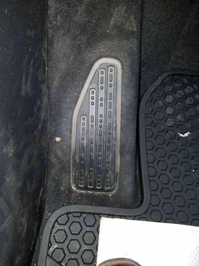 "The Footrest In This Jeep Says ""Sand Snow Rivers Rocks"" In Morse Code"