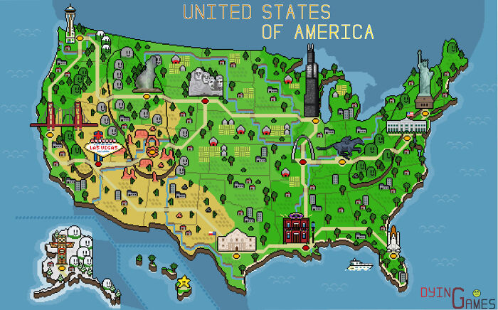 I Made A Retro Pixel Map Of The USA! Tried To Include Some Of The Iconic Monuments/Locations That Resonated With Me