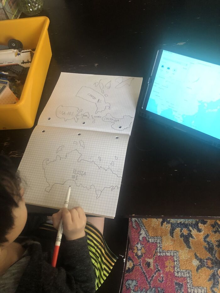 Just Walked In The Room And Found My 6 Year Old Drawing Countries By Hand