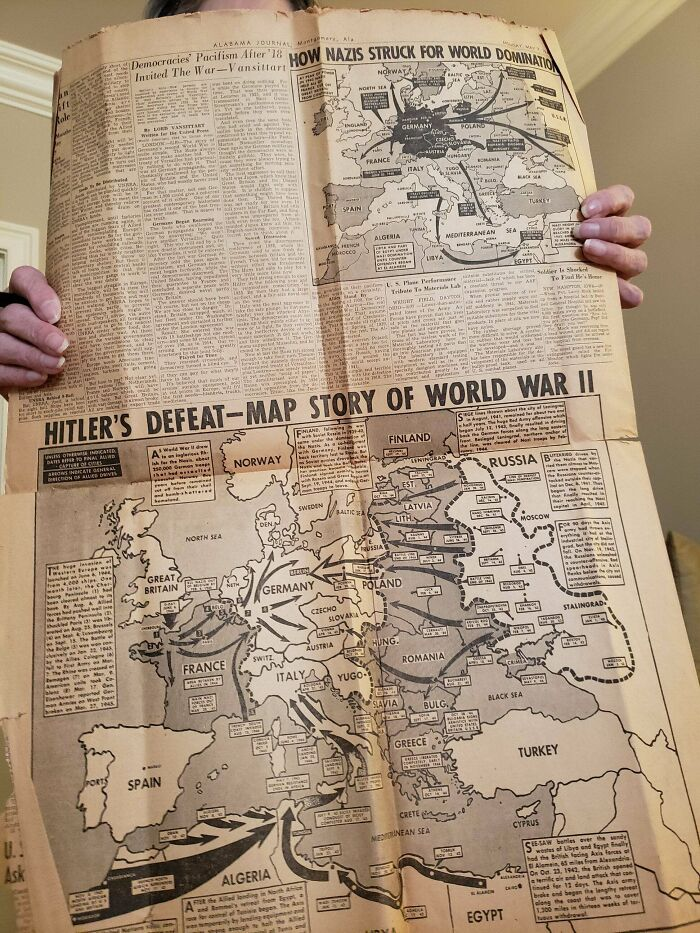 Newspaper My Great Grandfather Saved From The End Of Wwii (I Have More Photos But This Subreddit Doesn't Allow A Gallery)