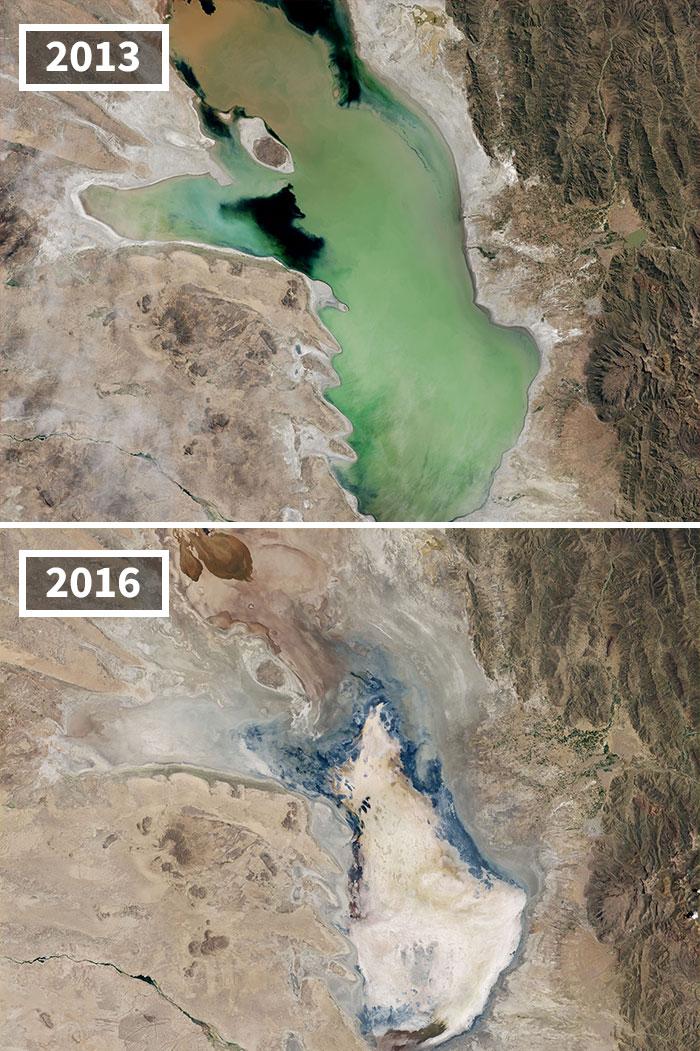 Drying Lake Poopó, Bolivia