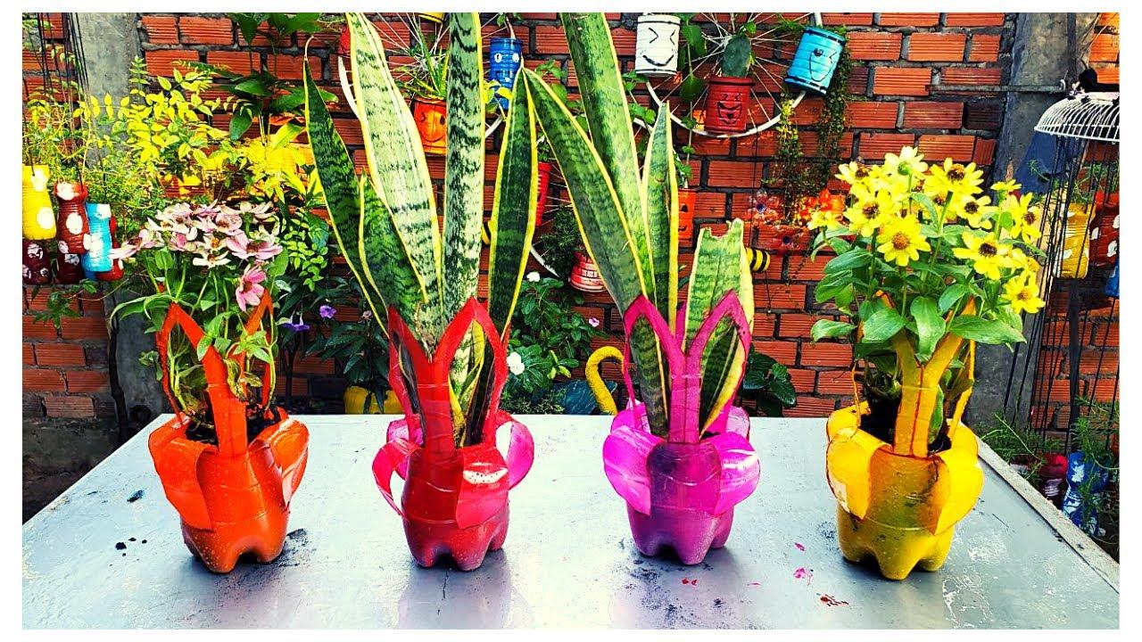 Plastic Bottles – Planter Vases – How To Make It