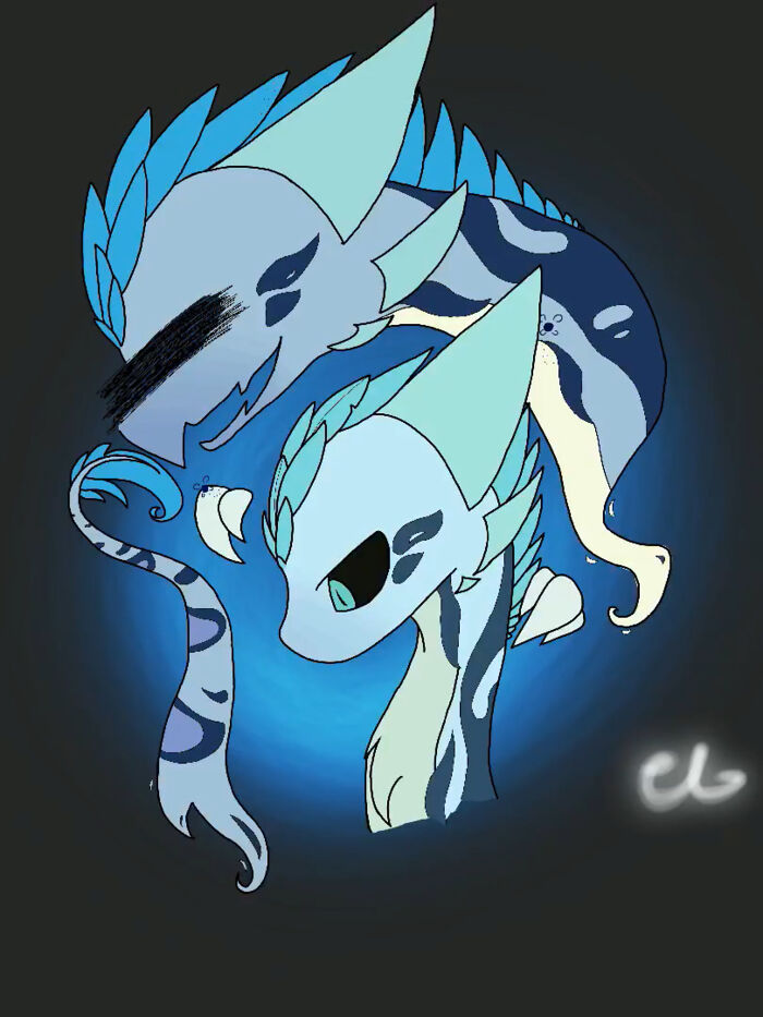 This Is My Flight Rising Wildclaw Oc Echo (Bottom) & Her Ghost Of A Sister Rayne (Top)