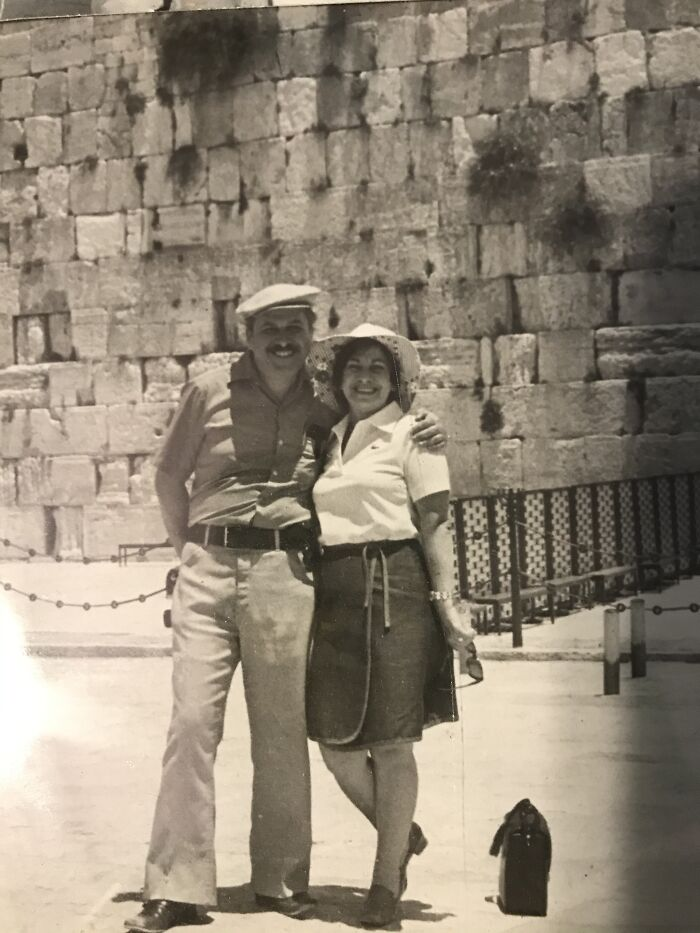 My Grandparents In Israel 1974. My Bubby Always Had To Pose Or Wave To The Camera!