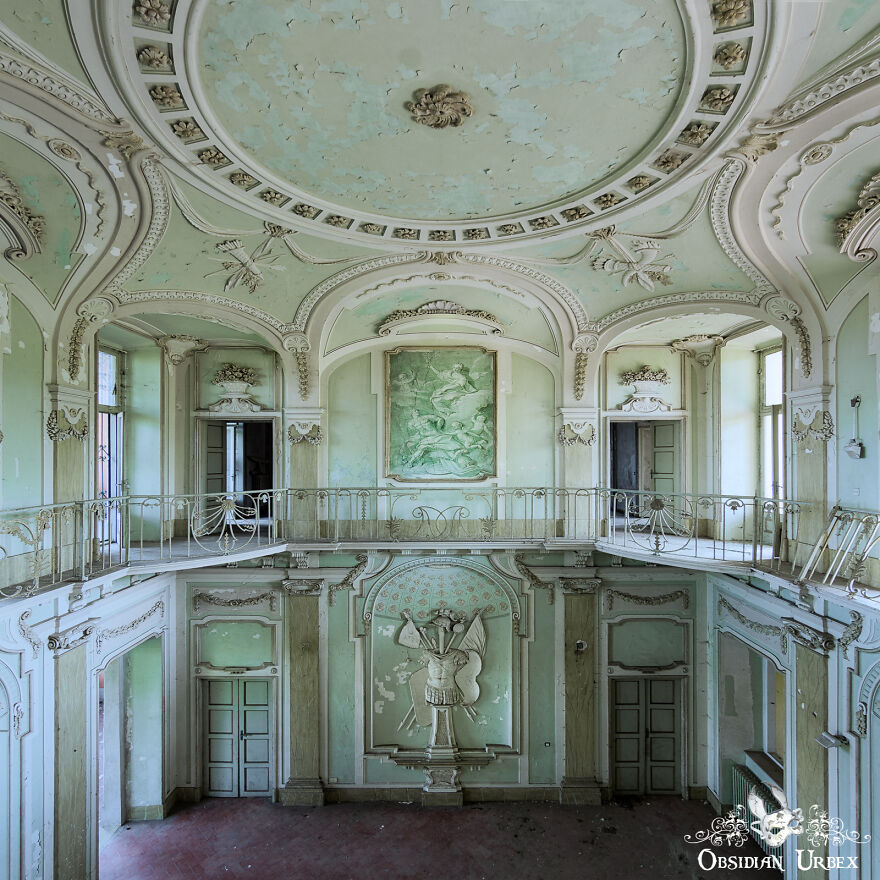 This Baroque And Classical Revival Style Villa Is Painted A Wonderful Light Minty Green