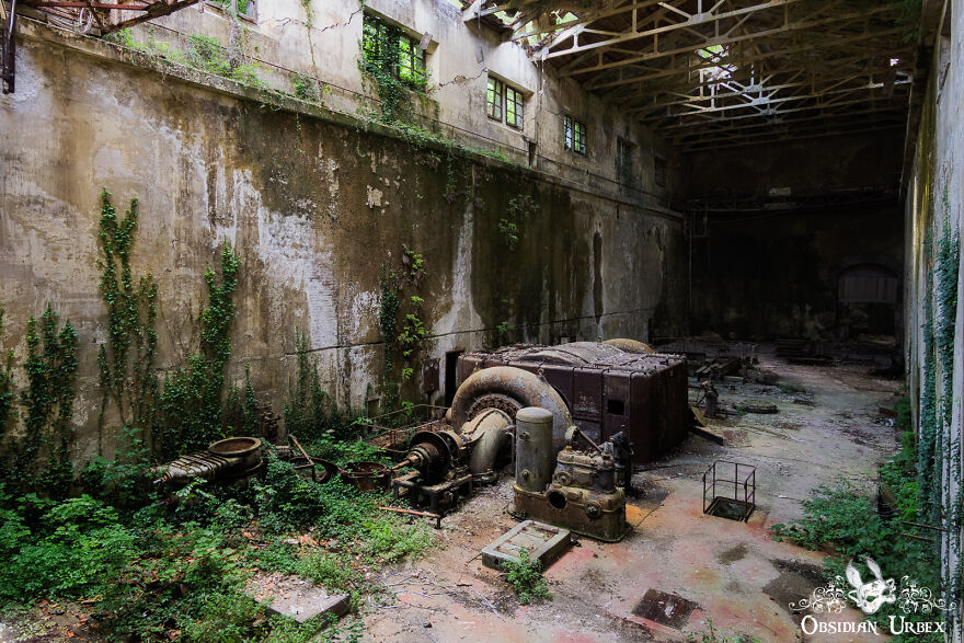 Vegetation Creeps Up Walls And Across The Floor Inside This Abandoned Hydro Power Plant