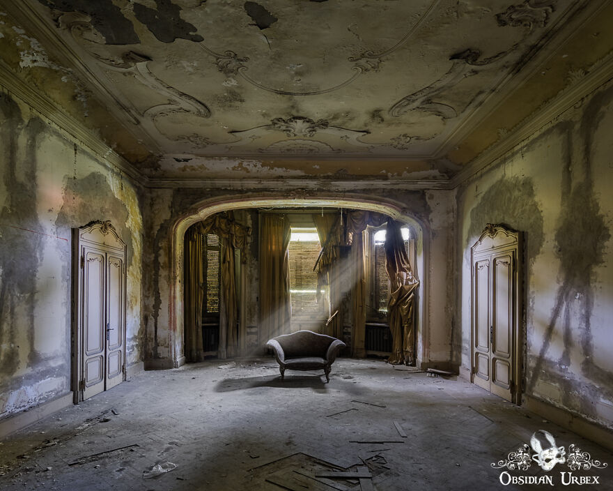 Soft Afternoon Light Streams Through The Window, Inside An Abandoned Italian Mansion