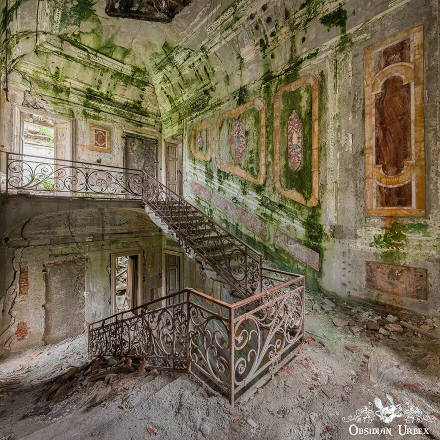 Algae Clings To Crumbling Plaster In This Decaying Italian Villa, Which Overlooks A Picturesque Lake