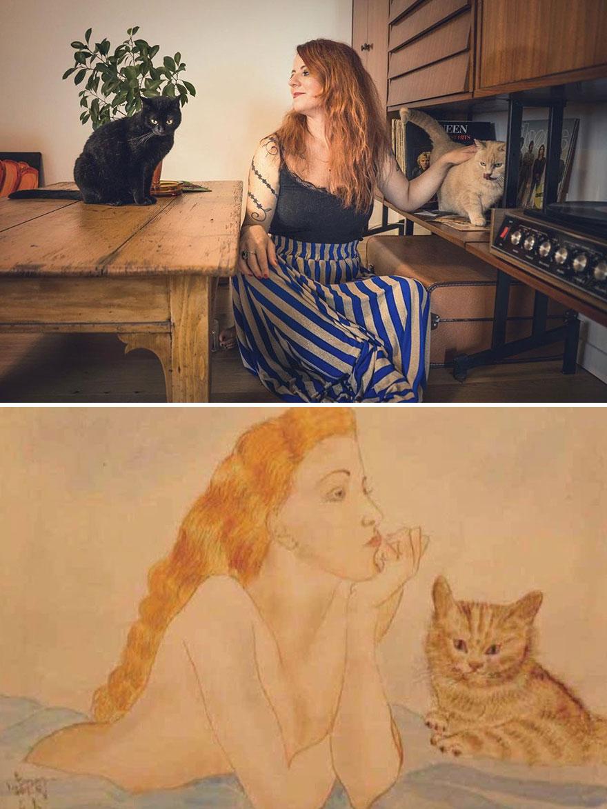 Jenny, Agata & Betty. Painting: 'Woman And Cat' By Tsuguharu Foujita
