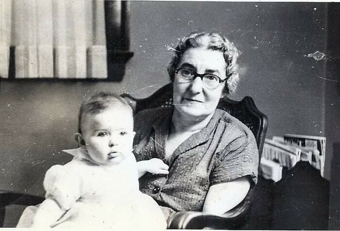 Great-Gma Holding My Mother. Minnesota 1952