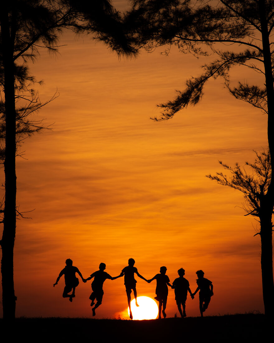 Friends And Sunset