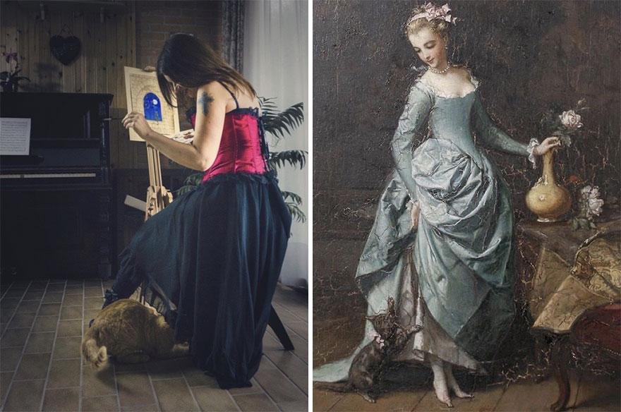 Silvia & Ziggy. Painting: 'A Kitten's Game' By Emmanuel Branger