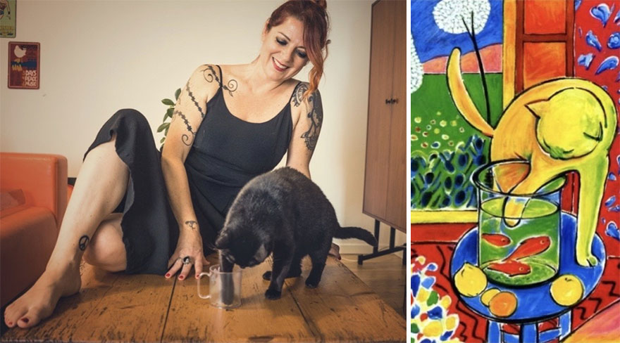 Jenny & Betty. Painting : 'Le Chat Aux Poissons Rouges' By Henri Matisse