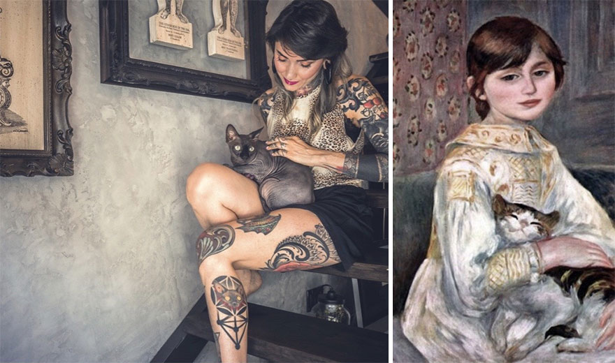 Marianna & Nerina. Painting: 'Jilie Manet With Cat' By Pierre Auguste Renoir