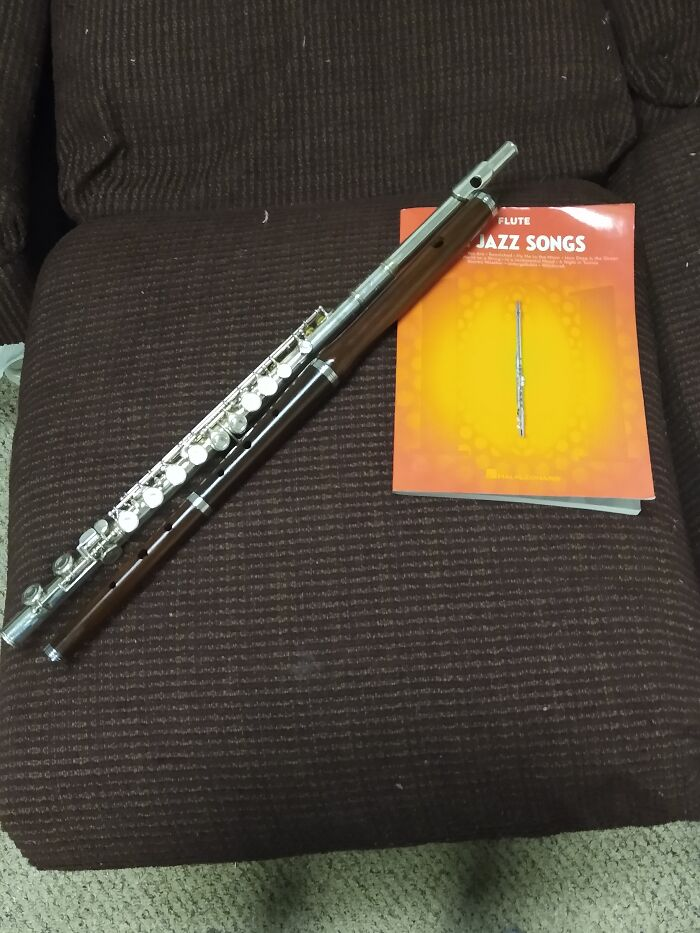 I Have 2 Flutes. The Shiny One Was A Christmas Gift And The Wood One Is An Irish Flute.