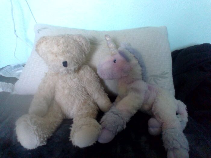 This Is My 1998 Limited Benton Bear From Jcpenney. (Left) And My Unicorn Who Is Named Mangave. (Right) Backstory On Mangave's Name I Got Him From A Man... Who Gave Him To Me.