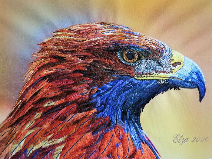 I Love Embroidery And This Is My Rendition Of A Golden Eagle. I Use A Technique Called Needle Painting