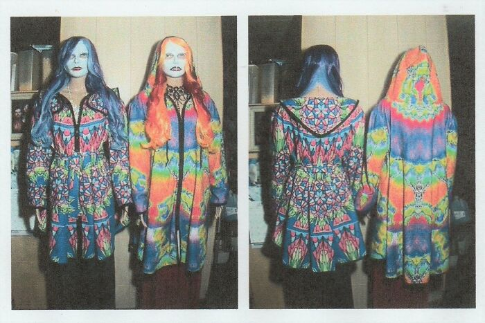 """I Had Designs I Created Printed On Material (Small Fleece Blankets) Then- Using My Own Patterns... I Made These Jackets. The Jacket On The Left Is """"Stained Glass- Sapphire"""" & On The Right Is """"Psychodelic Flying Spider"""", Both Are """"Swing"""" Style; One Is Belted The Other Is Hooded."""