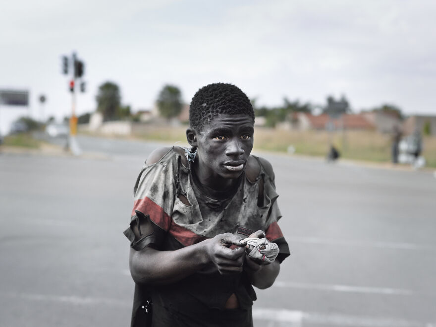 "At A Traffic Intersection, Johannesburg, 2011, ""Kin"""