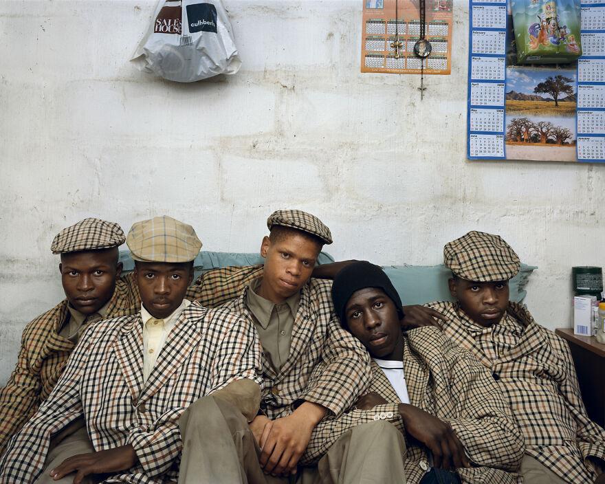 "Loyiso Mayga, Wandise Ngcama, Lunga White, Luyanda Mzantsi And Khungsile Mdolo After Their Initiation Ceremony, Mthatha, 2008, ""Kin"""