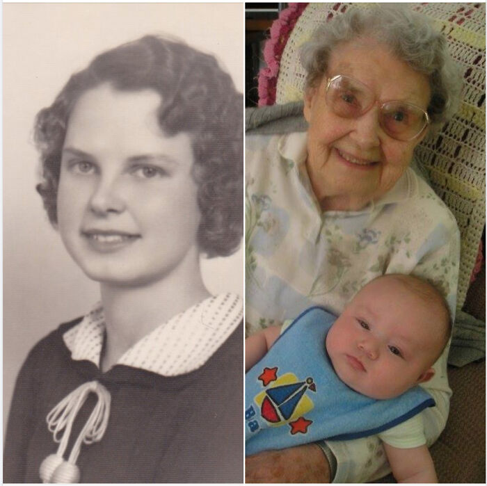 My Grandma When She Was A Cutie In Her 20s Back In 1934 And Then Her With My Son When He Was A Baby. He Was Her 8th Great-Grandchild At The Time And She Was 99 When She Passed