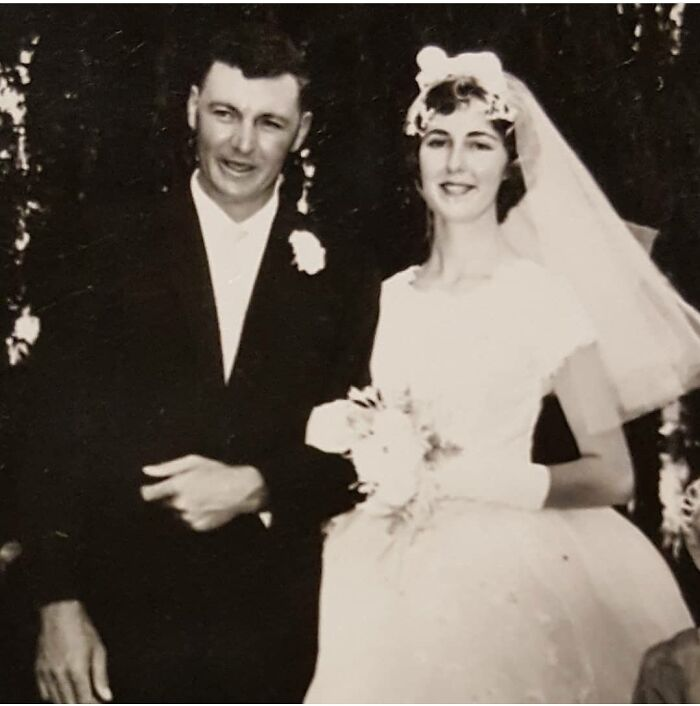 Grandparents On Their Wedding Day, Think It Was Late 1950's. My Grandpa Passed Away A Few Years Ago Due To Skin Cancer. He Was My Favourite Grandparent And I Am So Sad He Never Got To Meet Any Of His Great Grandchildren. He Would Have Loved Them.