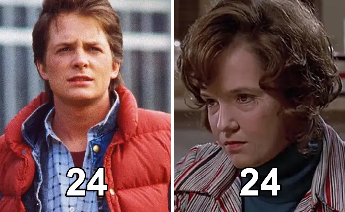 "Michael J. Fox And Lea Thompson Are The Same Age — Even Though Fox's Character In ""Back To The Future"" Is Thompson's Son. Her Older Look Was Achieved With Facial Prosthetics"