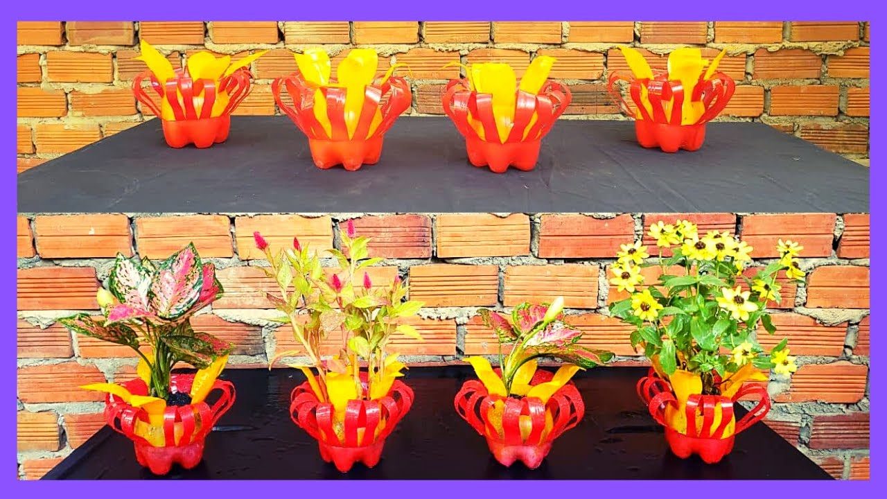 Craft Idea | How To Recycle Plastic Bottles Into Colorful Flower Pots