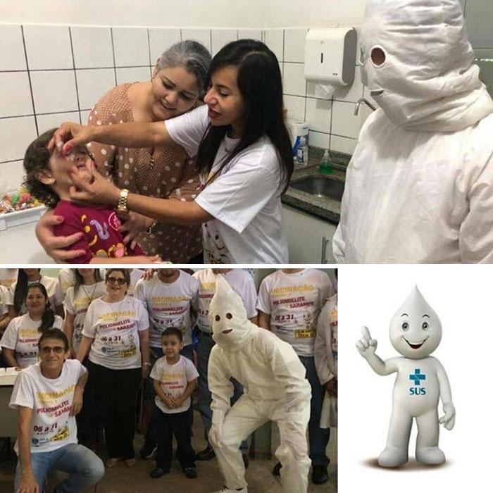 La mascota de la vacunación en Brasil parece del KKK
