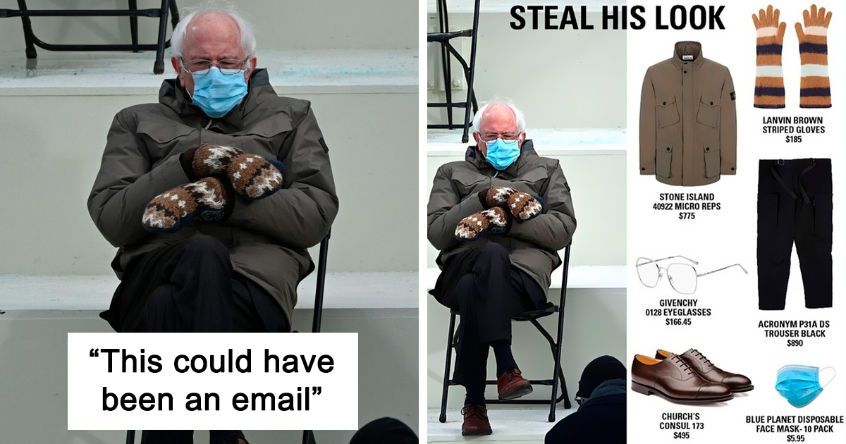 65 Of The Funniest Memes People Created After Bernie Sanders Was Captured Sitting Alone During Inauguration