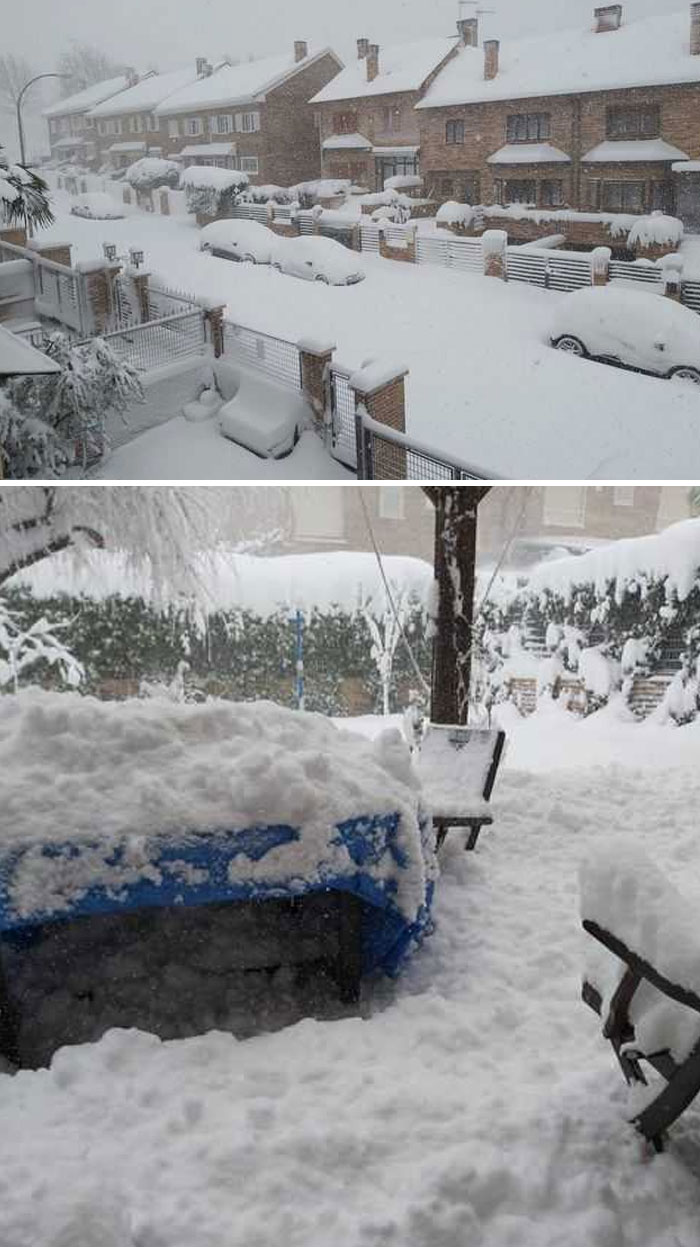 The Greatest Snowfall In Over 50 Years Hit Madrid, Spain Today