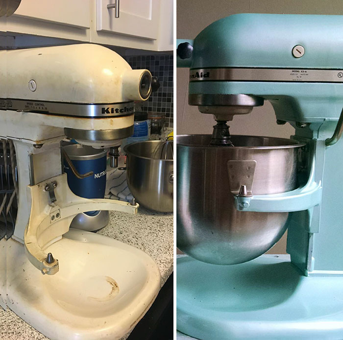 Found This Kitchenaid Mixer From The 1970s For $35. New Grease And Paint And It's As Good As New