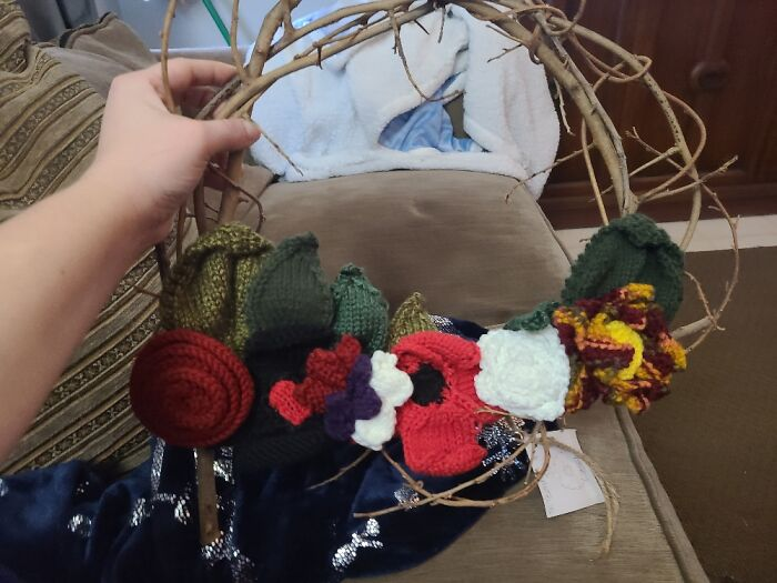 The Wreath Is Handmade By One Of My Sisters And I Knit All The Flowers And Leaves.