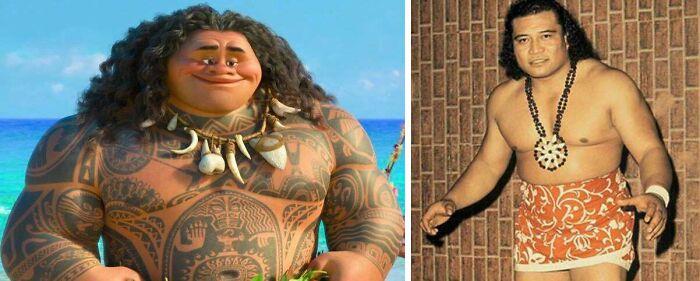 """En """"Vaiana"""" (2016), el aspecto de Maui está parcialmente tomado del abuelo de Dwayne """"The Rock"""" Johnson, el luchador profesional samoano-americano Peter Maivia"""