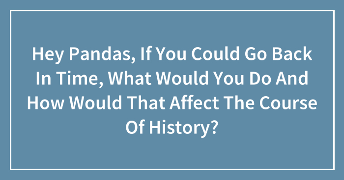 Hey Pandas, If You Could Go Back In Time, What Would You Do And How Would That Affect The Course Of History? (Closed)