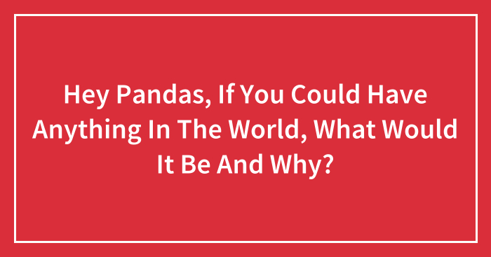 Hey Pandas, If You Could Have Anything In The World, What Would It Be And Why? (Closed)