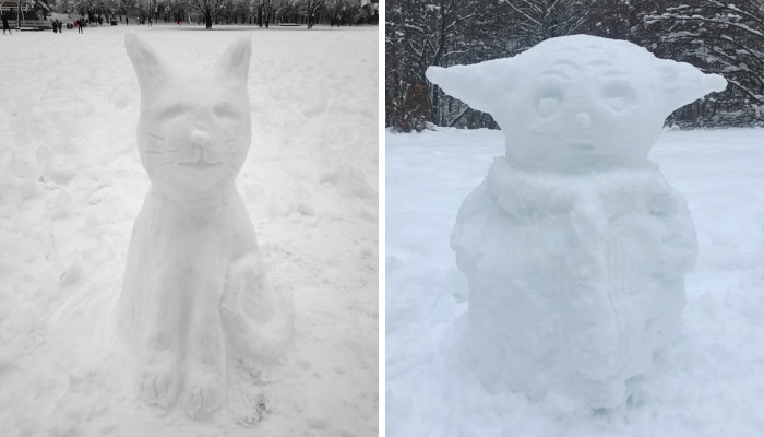 Hey Pandas, Show Your Snow Sculptures