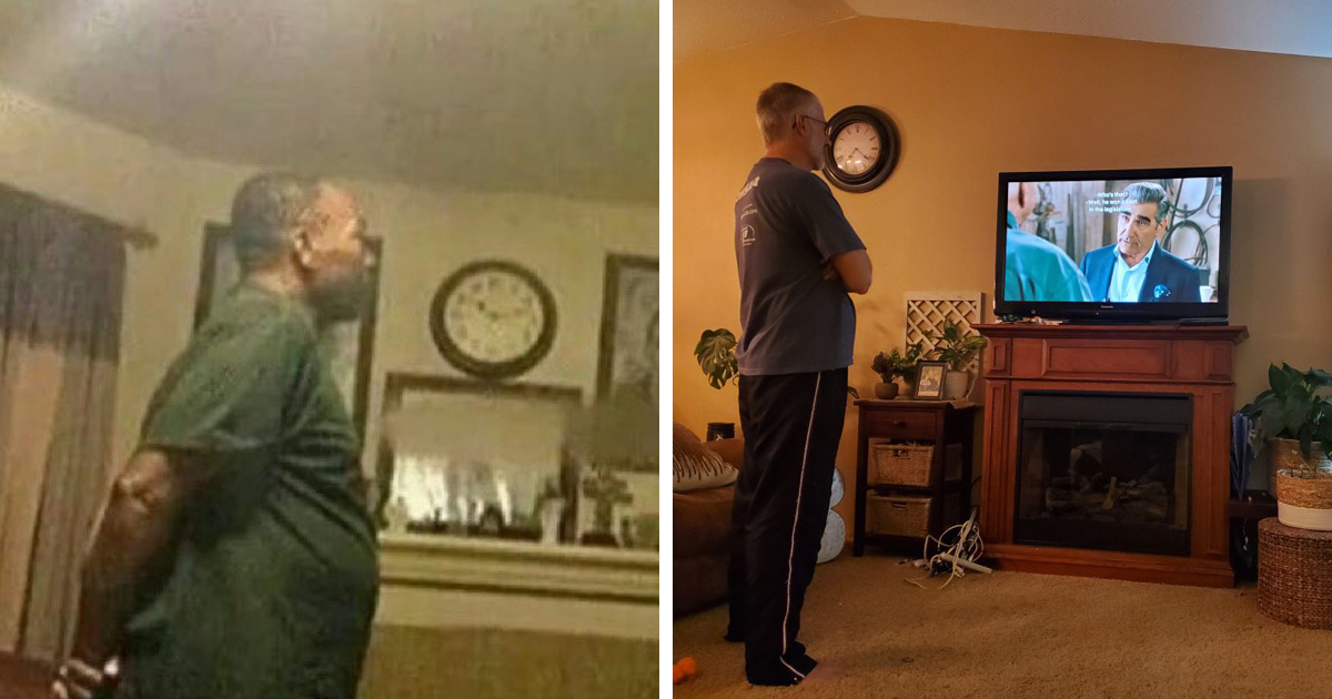 People Are Finding Out That Most Dads Watch TV Standing Up, And Here Are 25 Pics To Prove It - bored panda