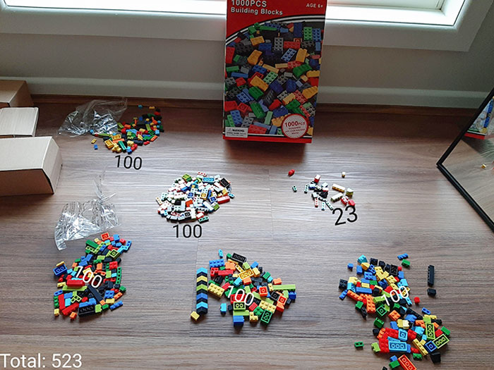 My Mother Ordered 1000 Plastic Blocks For Her Nephews. Ended Up Receiving 523